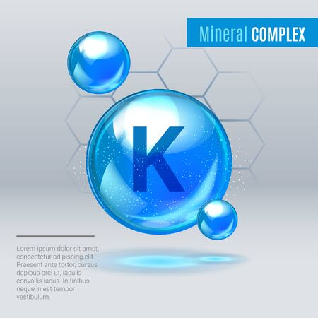 Illustration pour Mineral K Kalium blue shining pill capsule icon . Mineral Vitamin complex with Chemical formula . Shining cyan substance drop. Meds for heath ads. Vector illustration. - image libre de droit