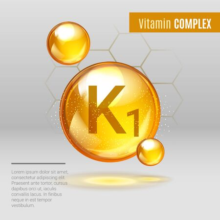 Illustration pour Vitamin K1 gold shining pill capsule icon . Vitamin complex with Chemical formula, Phylloquinone, menaquinones. Shining golden substance drop. Meds for heath ads. Vector illustration. - image libre de droit