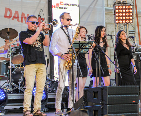 Musicians from the group bek vocals on site. Annual international festival of jazz and blues in St. Petersburg.