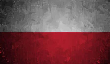 Illustration for Poland grunge flag. Vector Isolated on background - Royalty Free Image