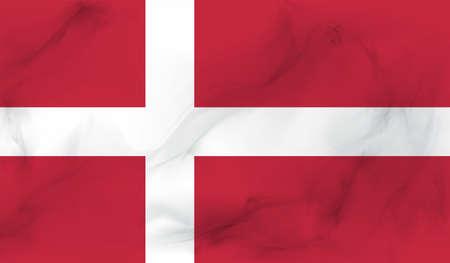 Illustration pour Denmark flag with waving grunge texture. Vector background. - image libre de droit
