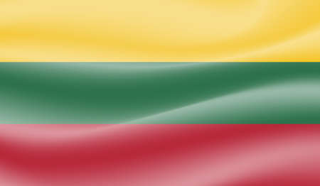 Illustration for Lithuania flag with waving grunge texture. Vector background. - Royalty Free Image
