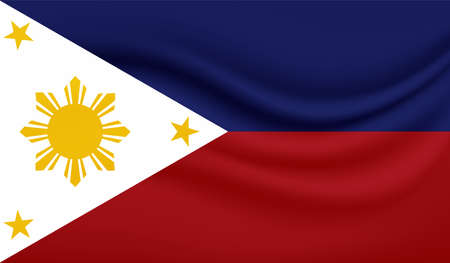 Illustration for Philippines flag with waving grunge texture. Vector background. - Royalty Free Image