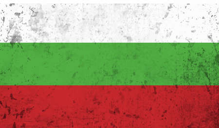 Illustration for Bulgaria flag with waving grunge texture. Vector background. - Royalty Free Image