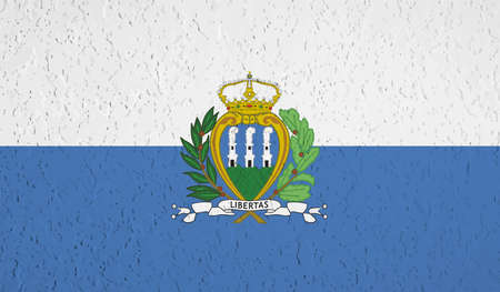 Illustration for San Marino flag with waving grunge texture. Vector background. - Royalty Free Image