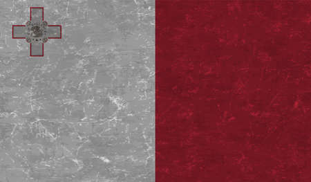 Illustration for Malta flag with waving grunge texture. Vector background. - Royalty Free Image