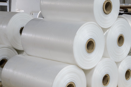 Photo pour Warehouse with rolls of polyethylene - image libre de droit