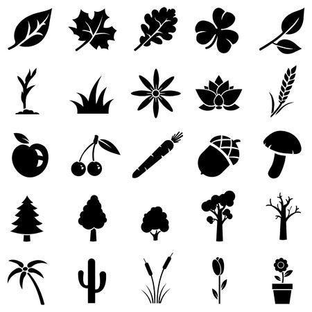 Illustration pour vector set of 25 black plants icons - image libre de droit