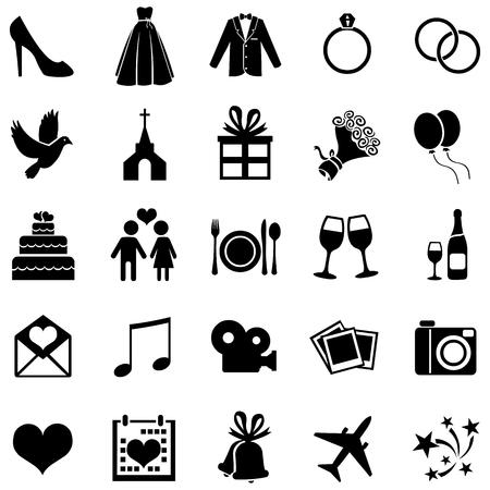 Foto de Vector Set of 25 Black Wedding Icons - Imagen libre de derechos
