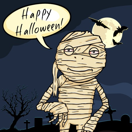 Vector Halloween Postcard. Smiling Mummy with Bubble - Happy Halloween.