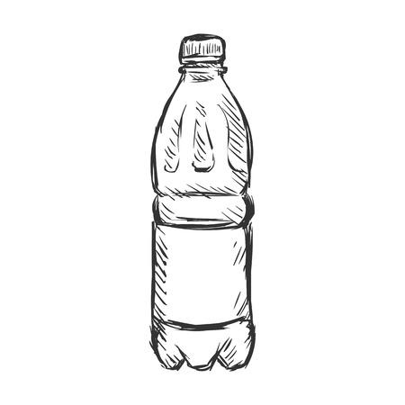 Illustration pour Vector Single Sketch Plastic Bottle of Water on White Background - image libre de droit