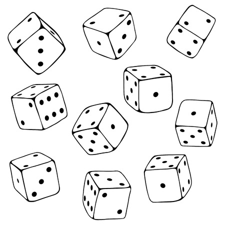 Vector Set of Line Art Dices on White Background