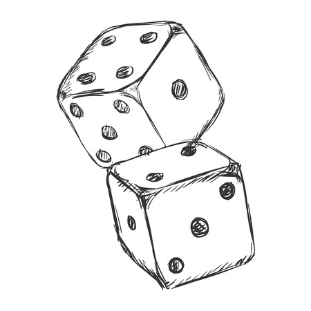 Vector Sketch Two Dices. Casino Icon on White Background