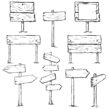 Vector Set of Sketch Signposts on White Background