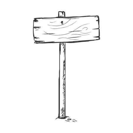Vector Single Sketch Signpost on White Background