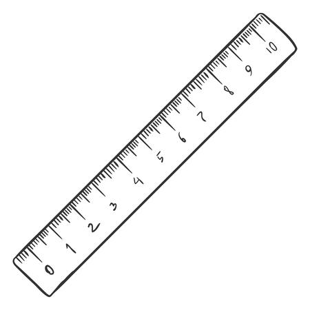Illustration pour Vector Single Sketch Ruler on White Background - image libre de droit