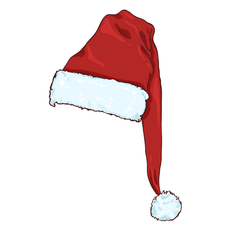 Illustration for Vector Cartoon Red Santa Claus Hat. Christmas Decoration. - Royalty Free Image