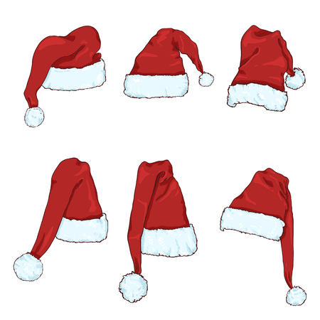 Illustration for Vector Set of Red Santa Claus Hats. Christmas Celebration Headwear. - Royalty Free Image