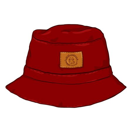 Illustration for Vector Single Red Cartoon Panama Hat. Front View. Urban Fashion. - Royalty Free Image
