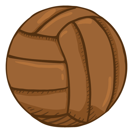 Illustration for Vector Cartoon Brown Old Fashioned Leather Volleyball Ball - Royalty Free Image