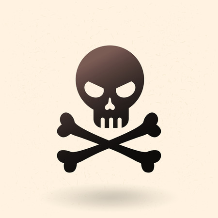 Vector Black Icon - Skull with Crossed Bones. Pirates Symbol.
