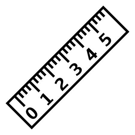 Illustration pour Vector Black Outline Icon - Ruler with Scale and Figures - image libre de droit