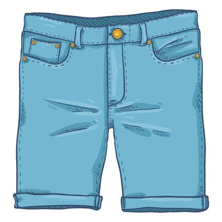 Vector Single Cartoon Illustration - Blue Denim Jeans Shorts
