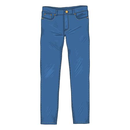 Illustration for Vector Single Cartoon Illustration - Denim Jeans Pants. Front View. - Royalty Free Image