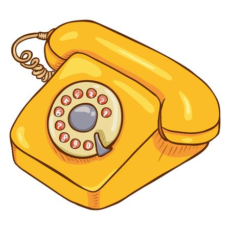 Ilustración de Vector Cartoon Yellow Retro Style Rotary Phone - Imagen libre de derechos