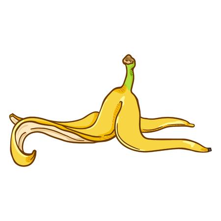 Illustration pour Vector Cartoon Yellow Banana Peel - image libre de droit