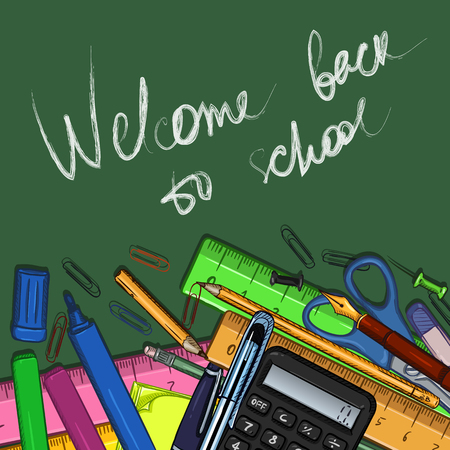 Illustration pour Vector Cartoon Illustration - Pile of Stationery and Text Welcome Backto School on Chalkboard Background - image libre de droit