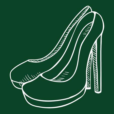 Illustration for Chalk Sketch Illustration - Women High Heel Shoes - Royalty Free Image