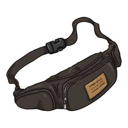 Brown Leather Belt Bag. Vector Cartoon Illustration of Mens Beltbag