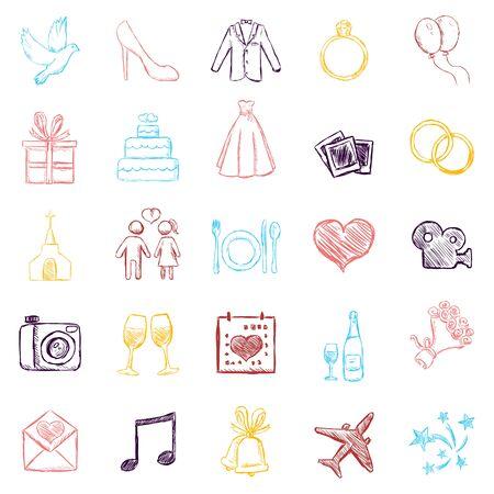 Illustration pour Vector Set of Color Sketch Weddings Icons - image libre de droit