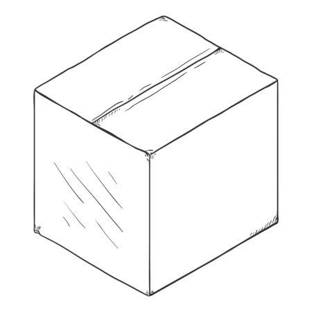 Illustration pour Vector Sketch Closed Cubicle Cardboard Box - image libre de droit
