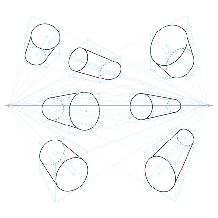 Illustration pour Vector Set of Cylinders. Two Point Perspective Line Geometry Drawings. - image libre de droit