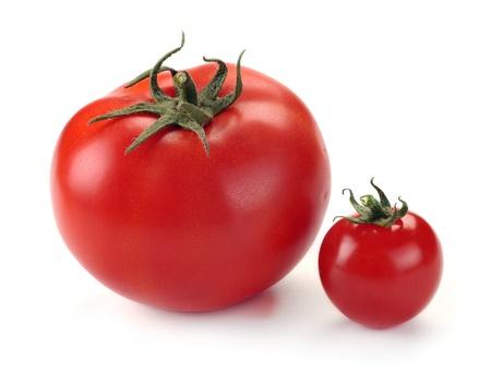 Photo pour large and small tomato on white background - image libre de droit