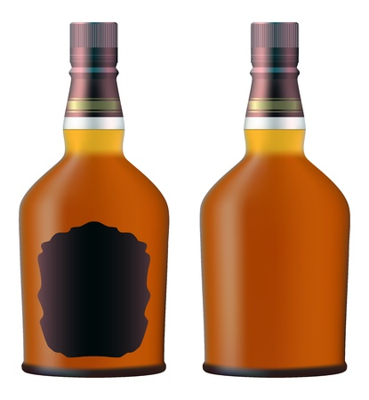 set of whiskey bottles realistic