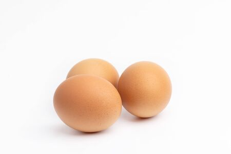 Photo for 3 eggs on a white backgrounds. - Royalty Free Image