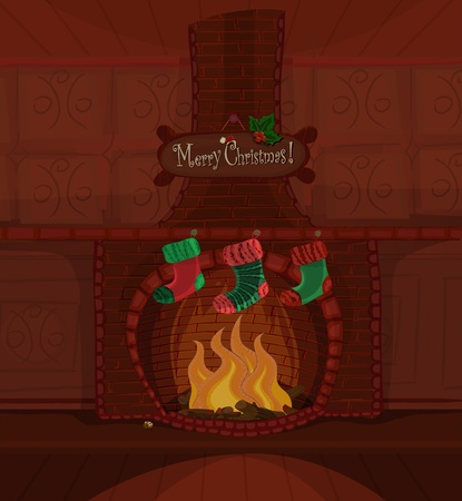 Christmas series. Beautiful fireplace with fire brning and three stockings waiting for Santa Claus. Available space for your text