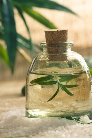 Spa wellness setting with rosemary  and  natural remedies.