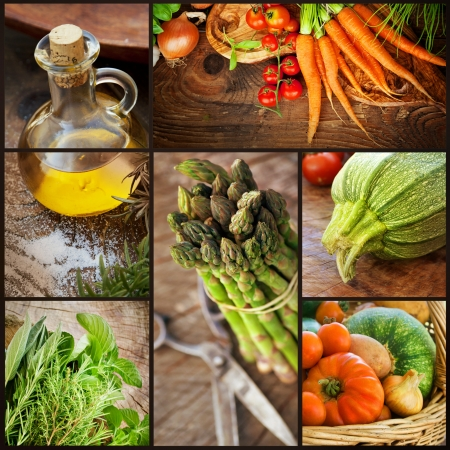 Photo for Organic Food concept  Collage of ffresh vegetables   Natural wood with freshly harvested vegetables  tomato, courgette, herbs, spices, olive oil, asparagus and carrots  - Royalty Free Image