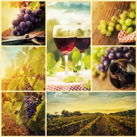 Collage of rustic wine, grapes and vineyard images