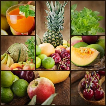 Food colage series. Collage of fresh fruit.  Fruit juice pinneapple apples kiwicherry l