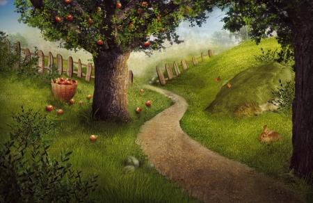 Nature design - apple orchard. Nature food concept background. Summer fruit garden harvest with apple orchard