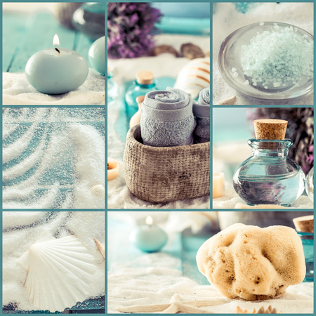 Spa collage series. Spa collage made of five images. Floral water, bath salt, candles and towel. Dayspa imageの写真素材
