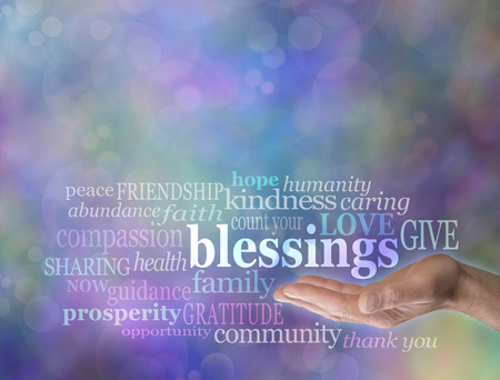 Count Your Blessings Word Cloud on Bokeh Background