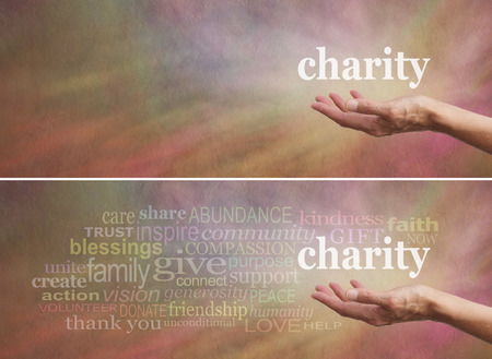 Photo pour Donate to Charity Campaign banner - Woman\'s outstretched open hand with the word \'charity\' above - image libre de droit