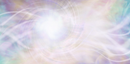 Photo for Streaming ethereal energy background - streams of white light and a central white vortex light area with a random pattern of aqua, purple, pink and light golden yellow - Royalty Free Image