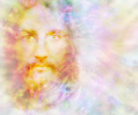 Photo pour Gentle Spirit - ethereal golden light forming the face of a gentle spirit on a pastel colored energy field background with copy space on right - image libre de droit